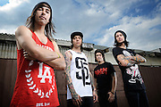 Pierce The Veil photographed backstage on Warped Tour, July 5, 2010