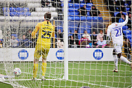 Coventry City forward Amadou Bakayoko celebrates putting the ball past Peterborough Utd goalkeeper Conor O'Malley (25) for Coventry's second goal 0-2 during the EFL Sky Bet League 1 match between Peterborough United and Coventry City at London Road, Peterborough, England on 16 March 2019.