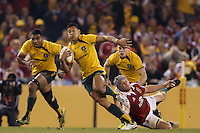 MELBOURNE, 29 JUNE - Israel FOLAU of the Wallabies carries the ball during the Second Test match between the Australian Wallabies and the British & Irish Lions at Etihad Stadium on 29 June 2013 in Melbourne, Australia. (Photo Sydney Low / asteriskimages.com)