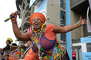 a Traditional African group performing outside Twickenham Stadium before k/o. Rugby World Cup 2015 quarter final match, South Africa v Wales at Twickenham Stadium in London, England  on Saturday 17th October 2015.<br /> pic by  John Patrick Fletcher, Andrew Orchard sports photography.