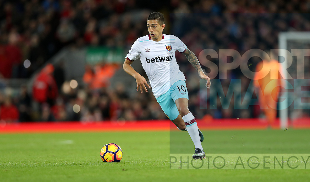 Manuel Lanzini of West Ham United during the Premier League match at Anfield Stadium, Liverpool. Picture date: December 11th, 2016.Photo credit should read: Lynne Cameron/Sportimage