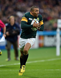 Bryan Habana of South Africa in possession - Mandatory byline: Patrick Khachfe/JMP - 07966 386802 - 07/10/2015 - RUGBY UNION - The Stadium, Queen Elizabeth Olympic Park - London, England - South Africa v USA - Rugby World Cup 2015 Pool B.