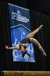 April 19, 2018 - St. Louis, Missouri, U.S - KATELYN OHASHI, from UCLA, performs on the balance beam during the podium training before the competition held at Chaifetz Arena in St. Louis Missouri. (Credit Image: © Amy Sanderson/ZUMA Wire)