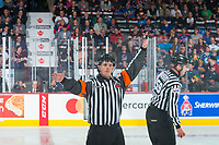 REGINA, SK - MAY 23: Referee makes a call at the Brandt Centre on May 23, 2018 in Regina, Canada. (Photo by Marissa Baecker/CHL Images)