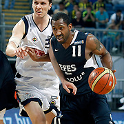Fenerbahce's Marko TOMAS (L) and Efes Pilsen's Bootsy THORNTON (R) during their Turkish Basketball Legague Play-Off semi final first match Fenerbahce between Efes Pilsen at the Sinan Erdem Arena in Istanbul Turkey on Tuesday 24 May 2011. Photo by TURKPIX