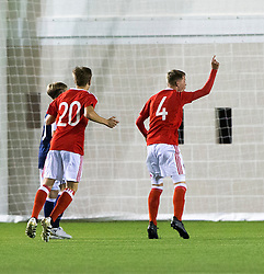 Wales Keenan Patten celebrates after scoring their second goal. Scotland 2 v 2 Wales, Under 16 Victory Shield, Oriam 1/11/2016.