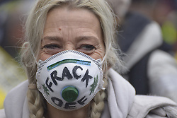 November 12, 2016 - Manchester, England, United Kingdom - A person attends the pre-demonstration rally against hydraulic fracturing, also known as 'fracking', on November 12, 2016 in Manchester, England. Hydraulic Fracturing is expected to take place in various locations around England, whilst the Northern Irish, Scottish and Welsh Governments has introduced moratoriums on the gas extraction method. Although fracking is a controversial form of energy extraction, due to environmental concerns, fracking is supposed to provide cheaper and more secure energy for the United Kingdom's domestic energy market. (Credit Image: © Jonathan Nicholson/NurPhoto via ZUMA Press)