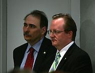 Key Obama advisors at a media briefing on January 9, 2009. (left to right: David Axelrod,senior advisor, Robert Gibbs, press secretary, )  Photograph by Dennis Brack