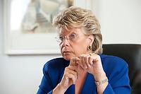17 SEP 2010, BERLIN/GERMANY:<br /> Viviane Reding, EU-Kommissarin fuer Justiz, Grundrechte und Buergerschaft, waehrend einem Interview, Vertretung der Europaeischen Kommision in Berlin<br /> IMAGE: 20100917-01-040