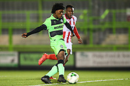 Forest Green Rovers Daniel Ogunleye(11) shoots at goal scores a goal 1-1 during the FA Youth Cup match between U18 Forest Green Rovers and U18 Cheltenham Town at the New Lawn, Forest Green, United Kingdom on 29 October 2018.