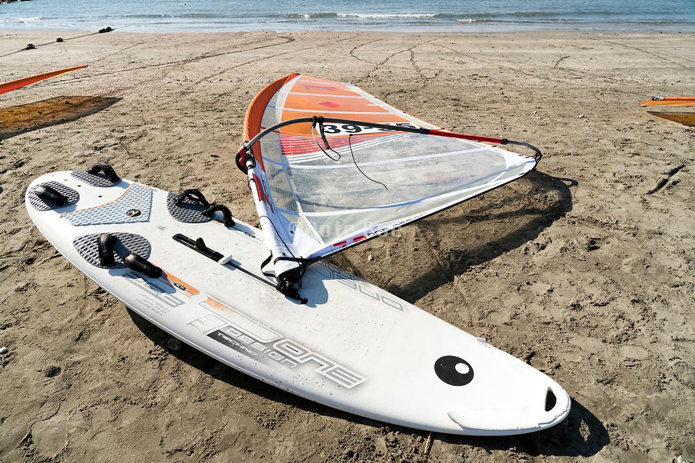 windsurf board on the beach in Kamakura Japan