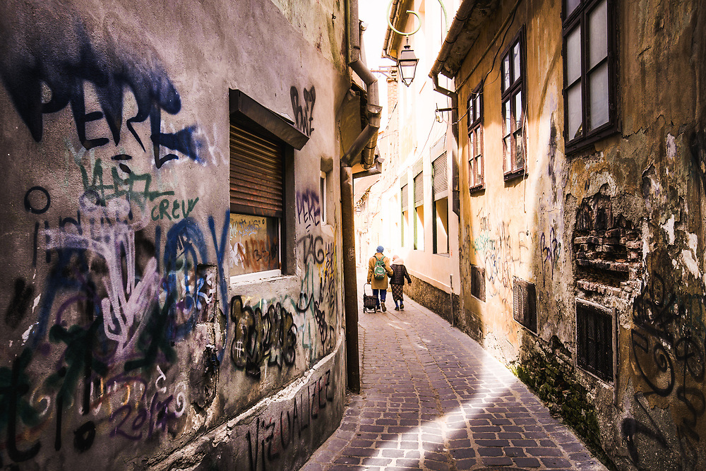 Streets of old town in Brasov, Romania