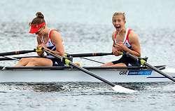 File photo dated 04-08-2012 of Great Britain's Sophie Hosking (left) and Katherine Copeland celebrate winning gold