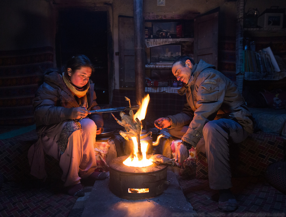 Rubina Ismail and Yahyah Naig, at the house of Yahyah Baig. Singing the dukc before cooking it. February is hunting duck season, as the migratory animals return fat from India, on their way back to Siberia. In Shimshal, one of the remotest village in the Karakoram mountains, and the highest settlement in the Hunza and Gojal region.