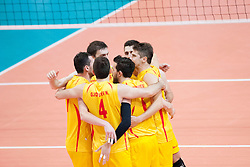 Players of FRY Macedonia celebrate point during volleyball match between National Teams of Slovenia and FRY Macedonia of 2014 CEV Volleyball European League Man - Pool B, on July 5, 2014, in Arena Ljudski vrt Lukna, Maribor, Slovenia, Slovenia. Photo by Urban Urbanc / Sportida