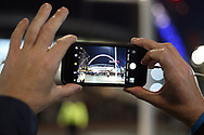 A fan takes a picture of the Wembley Arch prior to kick off. EFL Carabao Cup, 4th round match, Tottenham Hotspur v West Ham United at Wembley Stadium in London on Wdnesday 25th October 2017.<br /> pic by Steffan Bowen, Andrew Orchard sports photography.
