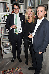 Left to right, VISCOUNT ERLEIGH, CHELSY DAVY and RORY SHEARER at the Beulah AW13 Showcase, Bungalow 8 LFW Pop-Up at Belgraves - A Thompson Hotel, 20 Chesham Place, London SW1 on 13th February 2013.