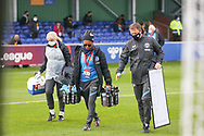 Hope Powell Manager of Bright and Hove Albion women with her staff during the FA Women's Super League match between Everton Women and Brighton and Hove Albion Women at the Select Security Stadium, Halton, United Kingdom on 18 October 2020.
