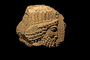 Head of a Persian. Fragment of a limestone relief from Persepolis, Iran.  It perhaps comes from one of the stairways of the Apadana (audience hall), 500-400 BC.  The headdress is typical of Persian guards and officials.