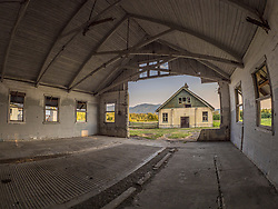 United States, Washington, Sedro-Wooley, abandoned dairy barn at Northern Hospital