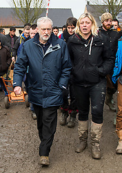 © Licensed to London News Pictures. 23/01/2016. Dunkirk, France. Leader of the Labour Party JEREMY CORBYN (left) with MADDIE HARRIS (right) during a visit a temporary camp in Dunkirk, France, where thousands of migrants and refugees attempting to reach the UK are currently living. Photo credit: Ben Cawthra/LNP