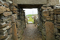 Broch of Gurness, a fortified dwelling dating back to the Iron Age around 200 BC, Orkney Islands Scotland