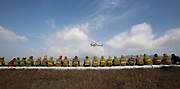 The members of Los Angeles County Fire Department and City Fire Department watch as Los Angeles County Fire Department helicopter during a large-animal rescue training session on Friday April 5, 2013 in Los Angeles, California. The training held by Los Angeles County and City Fire Departments, along with County Department of Animal Care and Control experts, and focus on horses and cattle in distress -- trapped or injured. (Photo by Ringo Chiu/PHOTOFORMULA.com)..