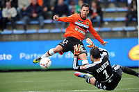 FOOTBALL - FRENCH CHAMPIONSHIP 2012/2013 - L1 - FC LORIENT v OLYMPIQUE LYONNAIS  - 7/10/2012 - PHOTO PASCAL ALLEE / DPPI - JEREMIE ALIADIERE (FCL) MISSES ON THIS ACTION THE OCCASION TO MARK A GOAL / REMY VERCOUTRE (OL)