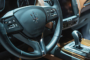 New York, NY, USA-23 March 2016. The cockpit of a Maserati Levante, the automaker's first foray into the luxury SUV market. The car starts at $72,000 US, and is off-road capable.