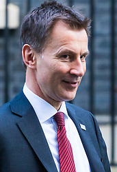 London, January 16 2018. Secretary of State for Health and Social Care Jeremy Hunt leaves the UK cabinet meeting at Downing Street. © Paul Davey