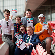 31.05.2018.          <br /> Limerick and Clare Education Training Board launch Youth Work Plan 2018-2021 at Thomond Park Limerick with Pat Breen TD, Minister of State with special responsibility for Trade, Employment, Business, EU Digital Single Market and Data Protection, Clare. <br /> <br /> Pictured at the event were, Pat Breen TD, Minister of State with special responsibility for Trade, Employment, Business, EU Digital Single Market and Data Protection, Clare with, Cillian Hickey, Ciara Lowe, Aifric Nevin, Limerick Scout County and Victor Hogan, Limerick Youth Service. Picture: Alan Place