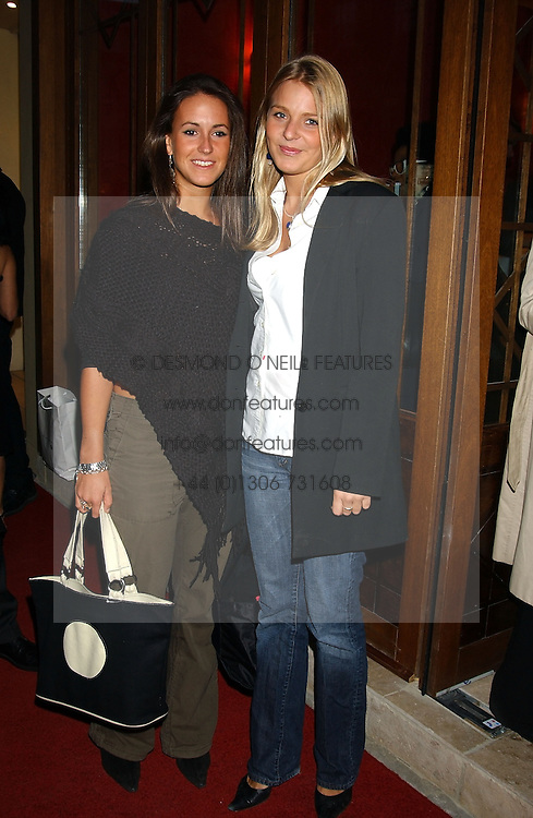 Left to right, MISS ALEXANDRA PAKENHAM daughter of Michael Pakenham and The HON.KIRSTY HAMILTON-SMITH daughter of Lord Colwyn at a party to celebrate the opening of Ishtar - a new mediterainian restaurant in Crawford Street, London W1 on 15th September 2004.<br /><br />NON EXCLUSIVE - WORLD RIGHTS