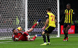 Watford goalkeeper Ben Foster makes a save during the Premier League match at Vicarage Road, Watford.