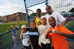 Football training session with the NBSCA Bolton Wonderers for local children. Project seeks to build a better understanding of the ways in which long-term residents and newer refugee communities can build positive relationships, Bolton UK
