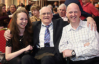 John Ronan, from Celbridge with his granddaughter Megan and son, Ken at the state event for 1916 relatives at the RDS, John's uncle Willie Ronan fought in the battle of Mount Street bridge during the 1916 Rising. Picture credit; Damien Eagers 26/3/2016