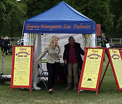 Autumn Phillips (left) after having her fortune told during the Royal Windsor Horse Show, which is held in the grounds of Windsor Castle in Berkshire.