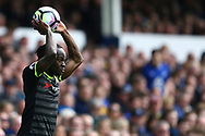 Victor Moses of Chelsea takes a throw in. Premier league match, Everton v Chelsea at Goodison Park in Liverpool, Merseyside on Sunday 30th April 2017.<br /> pic by Chris Stading, Andrew Orchard sports photography.