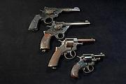 Webley revolvers - Top to bottom, Mark VI, Fosbery .38, RIC, Bulldog