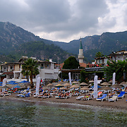Moody autumn weather on Turunc beach near Marmaris, Turkey