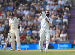 India's Mohammed Shami celebrates taking the wicket of England's Keaton Jennings during day three of the fourth test at the AGEAS Bowl, Southampton.