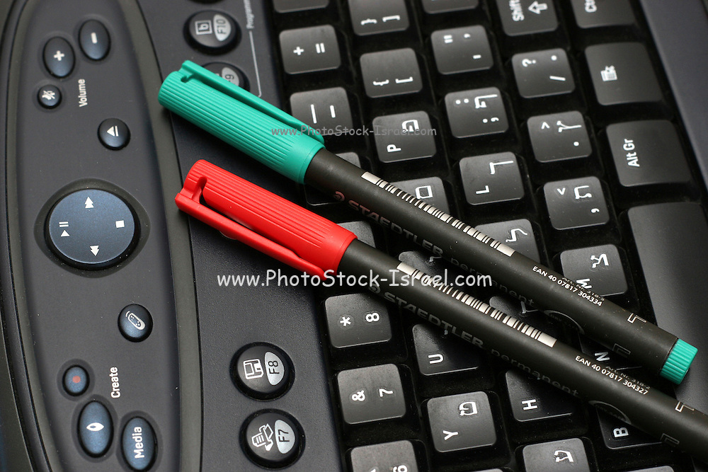 Computer keyboard and office markers