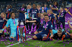 May 24, 2018 - Kiev, Ukraine - Olympique Lyonnais players celebrate they win.After the UEFA Women's Champions League Final match between VFL Wolfsburg and Olympique Lyonnais  at Kyiv, Ukraine on 24 May 2018. (Credit Image: © Kieran Galvin/NurPhoto via ZUMA Press)