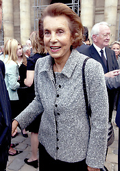 File photo - Liliane Bettencourt, the daughter of L'Oreal founder Eugene Schueller, arrives to a mass in honour of the late Francois Dalle, former chief executive of French cosmetics company L'Oreal, held at the Invalides in Paris, France, on September 8, 2005. Francois Dalle, who was the company's chief executive for 27 years and credited with transforming it into a global giant, has died aged 87 on August 9, 2005 in Geneva, Switzerland. Liliane Bettencourt has died aged 94 it was announced on September 21, 2017. Bettencourt was the richest person in France and the third-richest woman in the world with a net worth of $40 billion. She was the sole heir to L'Oreal, the largest cosmetics company in the world, which was started by her father, and a large shareholder in Nestle. Nearly a decade ago a trial forced Liliane's personal business into the public light, laid bare her obsession with a flashy homosexual photographer whom she turned into a billionaire, destroyed her relationship with her daughter, turned a long time family butler against her, and, finally, turned the dowager heiress into even more of a recluse than she had been before. Photo by Gorassini-Klein/ABACAPRESS.COM