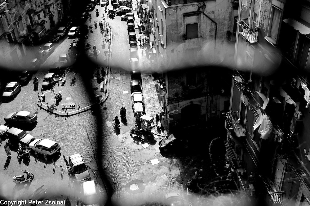 View from a bridge in Naples with a street below.