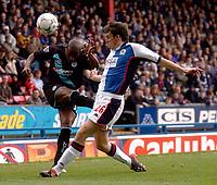 Photo. Glyn Thomas, Digitalsport.<br /> Blackburn Rovers v Leicester City. <br /> FA Barclaycard Premiership. 17/04/2004.<br /> Blackburn's John Douglas (R) blocks a cross from Frank Sinclair.