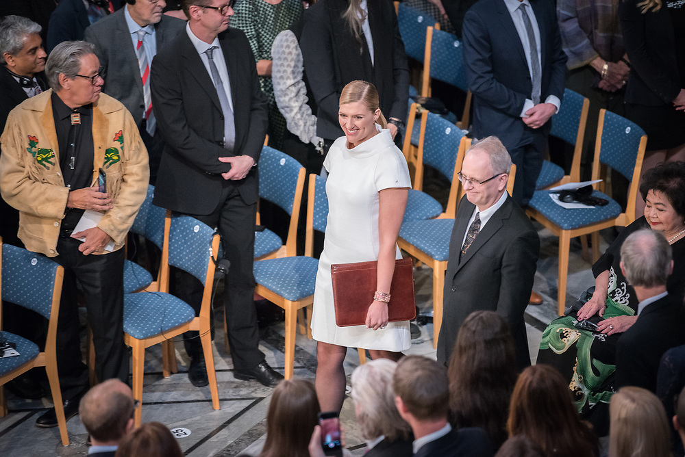 """10 December 2017, Oslo, Norway: Oslo City Hall hosts the Nobel Peace Prize award ceremony on 9-10 December 2017. The prize in 2017 goes to the International Campaign to Abolish Nuclear Weapons (ICAN), for """"its work to draw attention to the catastrophic humanitarian consequences of any use of nuclear weapons and for its ground-breaking efforts to achieve a treaty-based prohibition of such weapons"""". Here, ICAN executive director Beatrice Fihn."""