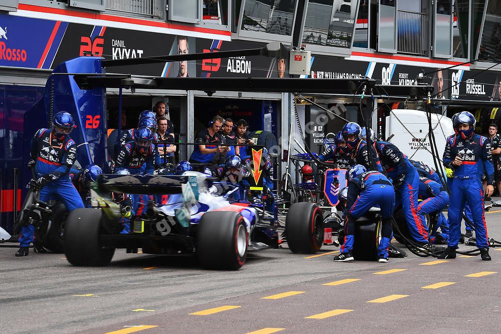 Pit-stop for Daniil Kvyat (Toro Rosso-Honda) during the 2019 Monaco Grand Prix. Photo: Grand Prix Photo