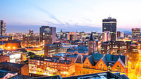 Taken from a unique perspective, showing the diversity of Manchester's built heritage including the Victorian Town Hall clock tower, the Beetham Tower, Manchester Law Courts, Canal Street, and much more...