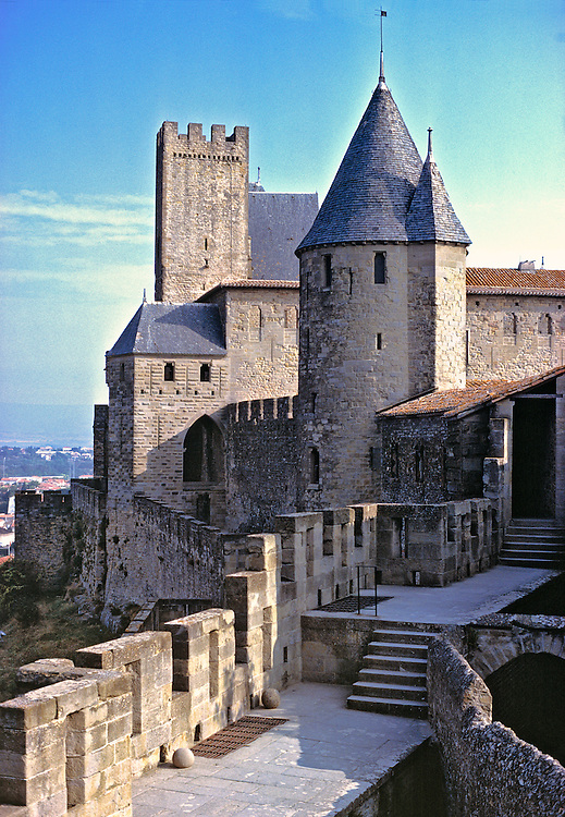 Walking the city walls in Carcassonne, Dept. Aude, France, gives views to La Cite and the countryside.
