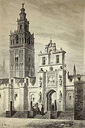 La Giralda, a Séville [The Giralda (the bell tower of Seville Cathedra) in Seville] Page illustration from the book 'L'Espagne' [Spain] by Davillier, Jean Charles, barón, 1823-1883; Doré, Gustave, 1832-1883; Published in Paris, France by Libreria Hachette, in 1874